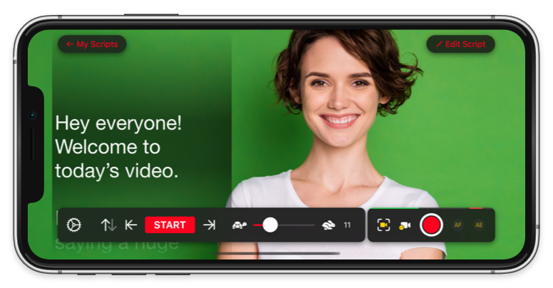 Green Screen Teleprompter app for iPhone