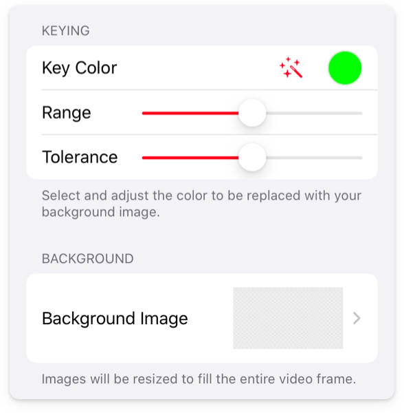 Green Screen app settings