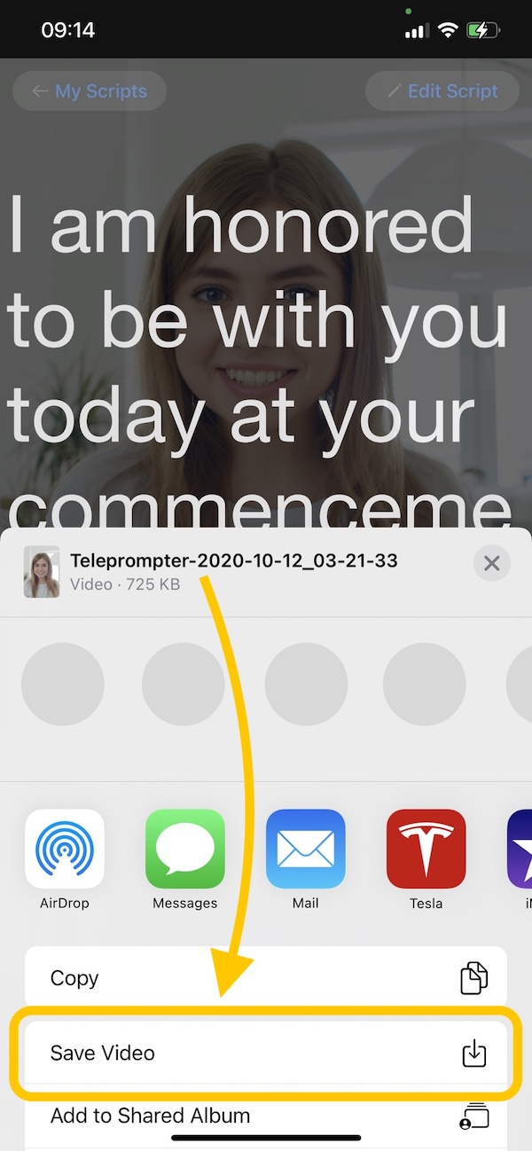 Teleprompter Premium save recorded video to the Photos library