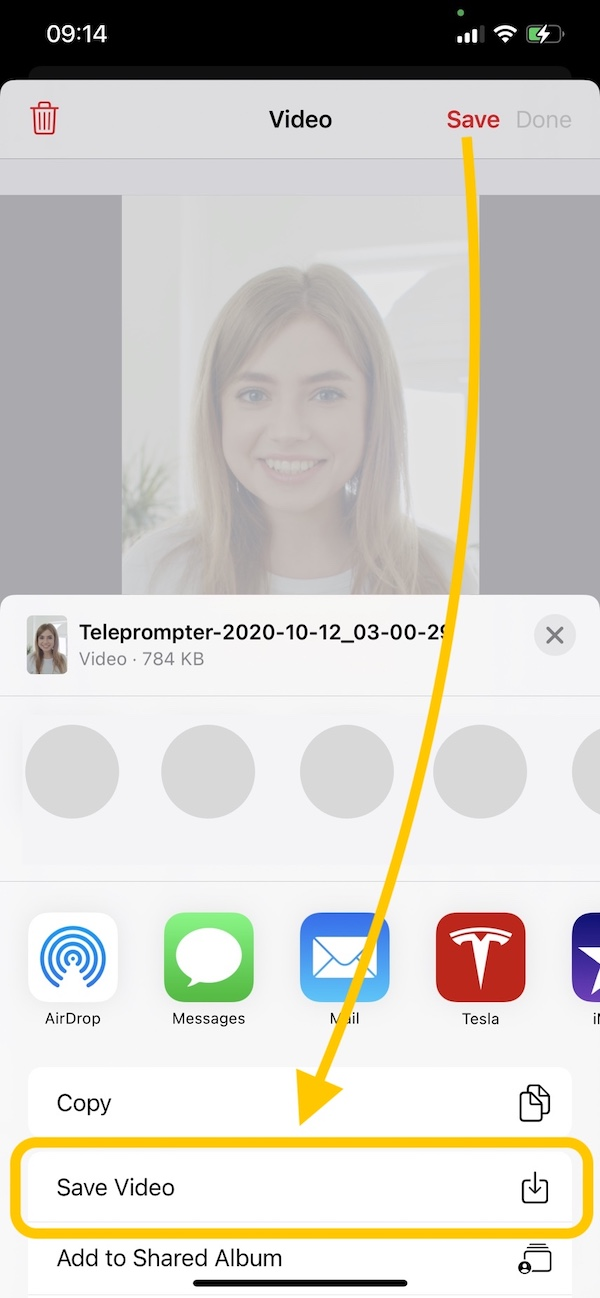 Video Teleprompter app save video to Photos app